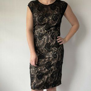 Sue Wong Nocturne Dress Beaded Lace Overlay Scoop